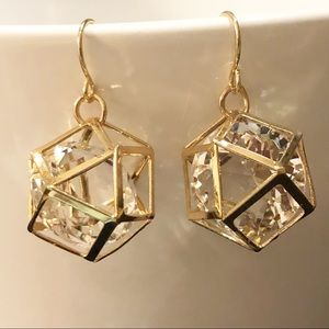 'Just In'  Gold Geometric Cube Floating Crystal